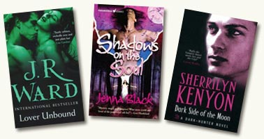 Lover Unbound by J. R. Ward,  Dark Side of The Moon by Sherrilyn Kenyon, Shadows on the Soul by Jenna Black Image